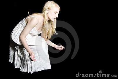 Crouching Curious Girl in Nightgown