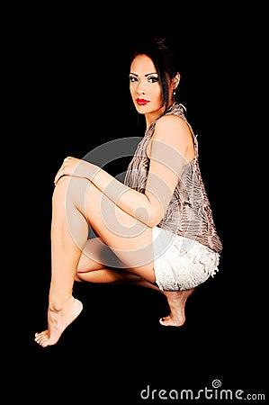 Crouching girl.