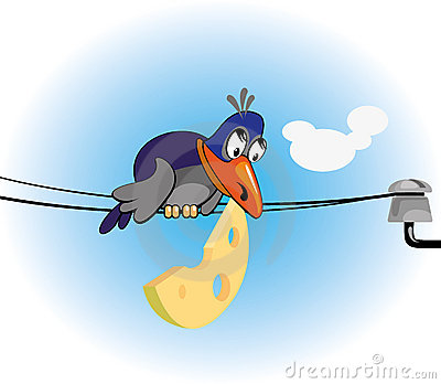 crow and cheese-cartoon