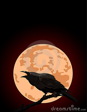 Crow croaks against a full moon