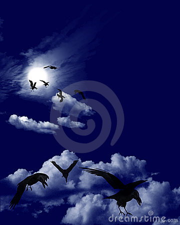 Crow Flock in Moonlit Skyscape