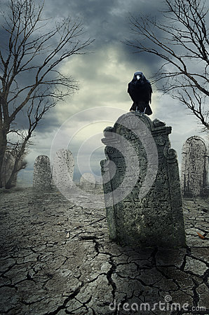 Free Crow On The Tombstone Stock Photography - 59777782