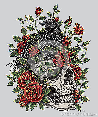 Free Crow, Roses And Skull Tattoo Design Royalty Free Stock Images - 51769039