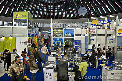 Crowd in Belgrade tourism fair in Serbia Editorial Stock Image