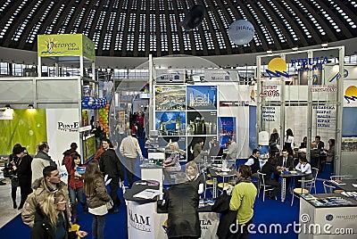 Crowd in Belgrade tourism fair in Serbia Editorial Stock Image
