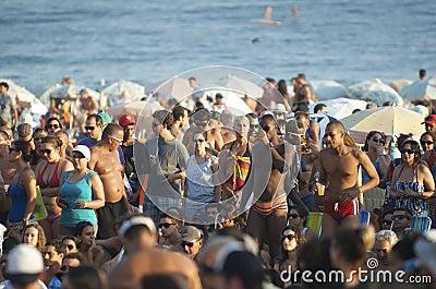 Crowd of Brazilians Ipanema Beach Rio de Janeiro Brazil Editorial Image