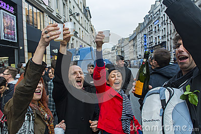Crowd Celebrating Results French President Editorial Stock Image