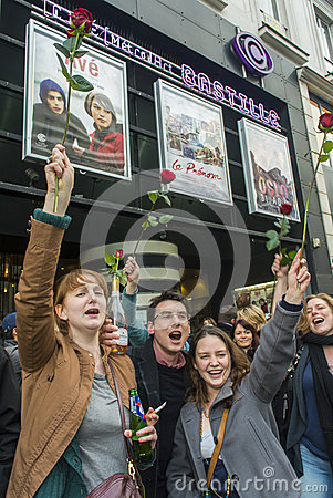 Crowd Celebrating Results French President Editorial Stock Photo