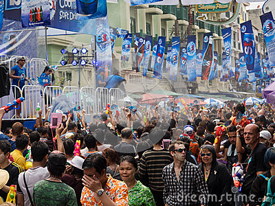 Crowd Celebrating Songkran 2014 in Bangkok, Thailand Editorial Stock Photo