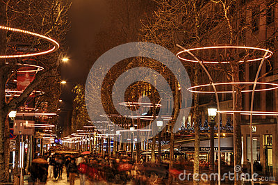 Crowd on Champs Elysees Editorial Photo