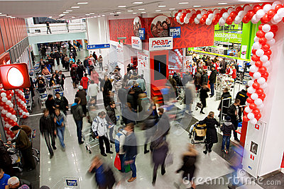 Crowd of customers in the mall Editorial Stock Photo