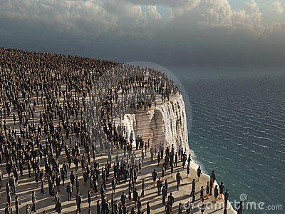 Crowd on the edge of a cliff