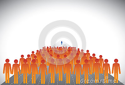 Crowd of followers & leader or employees & manager- graphic