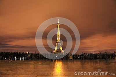 Crowd in Fornt of Eiffel Tower Editorial Image