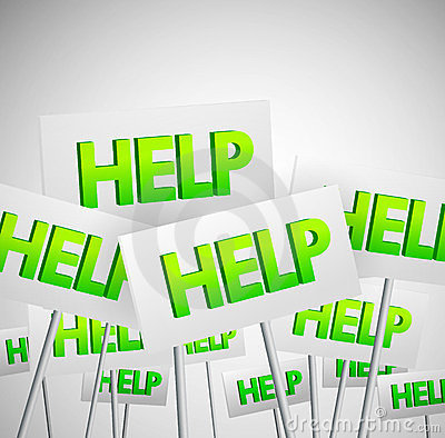 Crowd of help signs