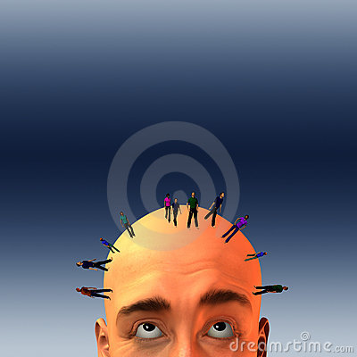 Crowd on mans head