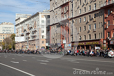 The crowd meets a cortege with fire of 2014 Olympic Games Editorial Stock Photo