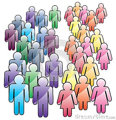 Crowd of men and women