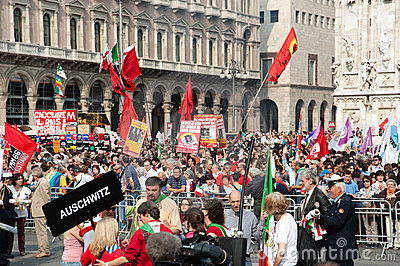 Crowd in Milan in Liberation day Editorial Image