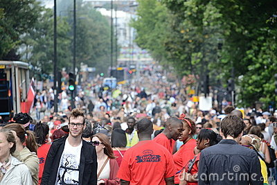 Crowd at Notting Hill Carnival Editorial Stock Photo