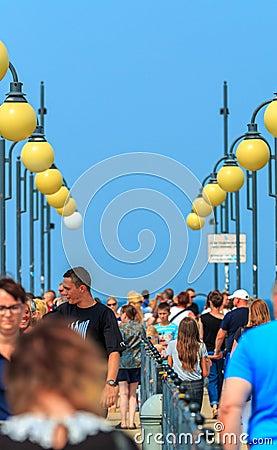 Free Crowd On Miedzyzdroje Pier-Poland Royalty Free Stock Image - 87388006