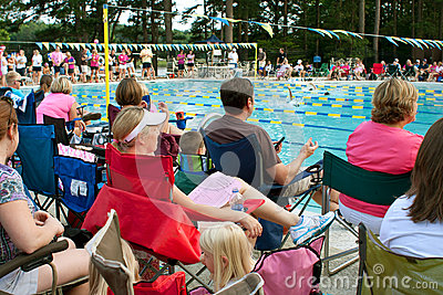Crowd Of Parents Sit Poolside To Watch Swim Meet Editorial Stock Photo