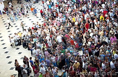 Crowd of people in the airport queue Editorial Photo