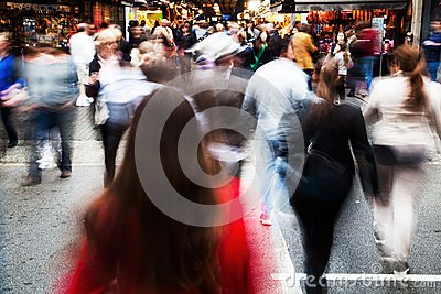 Crowd of people crossing a street Editorial Stock Photo