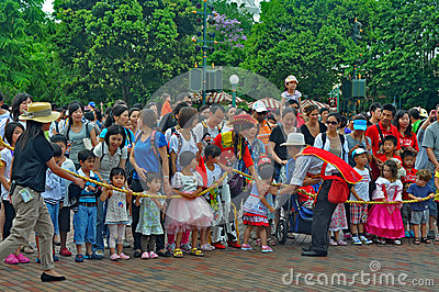 Crowd of people at disney land, hong kong Editorial Stock Image