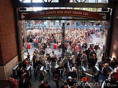 Crowd of People entering AT&T Park Editorial Stock Photo