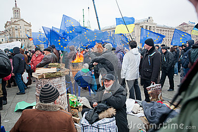 Crowd of people had occupied main square of the ca Editorial Stock Photo