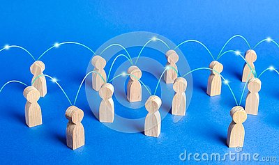 A crowd of people interconnected by communication lines. Cooperation and collaboration, spread news and gossip. Teamwork. unity Stock Photo