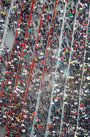 Crowd of people in a long queue Editorial Stock Photo