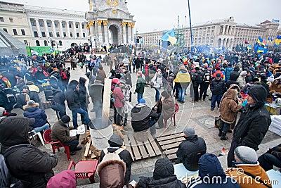 Crowd of people occupide main ukrainian Maidan squ Editorial Stock Image