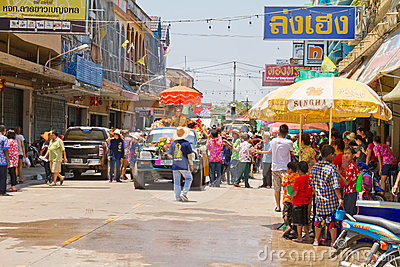 Crowd of people in Songkran festival Editorial Stock Image