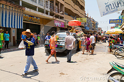Crowd of people in Songkran festival Editorial Stock Photo