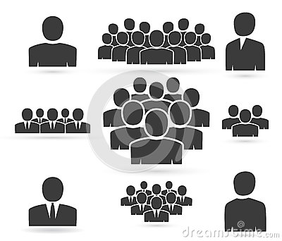 Crowd of people in team icon silhouettes