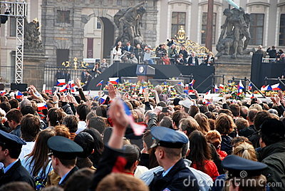 Crowd in Prague waiting for Barack Obama speech Editorial Photography