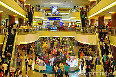 Crowd in shopping centre Editorial Stock Photo