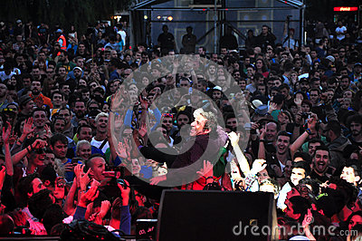 Crowd surfing at a concert Editorial Photo