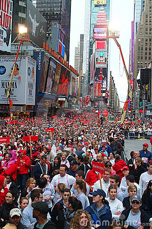 Crowd in Times Square for EIF Revlon Run/Walk Editorial Photography