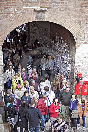 Crowd of tourists in Juliet Capulet s villa Editorial Stock Photo