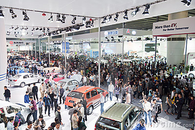 crowd  visitor at auto show hall Editorial Stock Photo