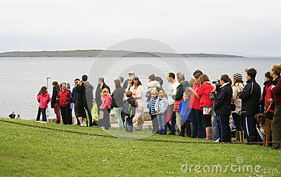 Crowd waiting for Olympic Flame to arrive Editorial Photography