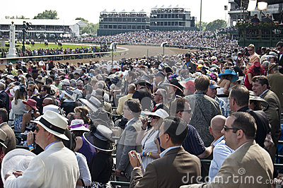 Crowd Watches the Kentucky Derby Race Editorial Stock Photo