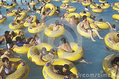 Crowd in water at Raging Waters Editorial Photography