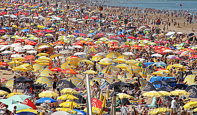Crowded Beach Editorial Stock Photo