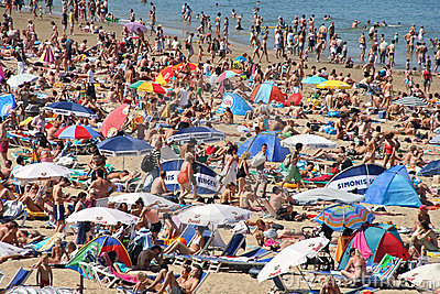 Crowded Beach in Summer Editorial Stock Photo