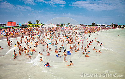 Crowded beach with tourists in Costinesti, Romania Editorial Photo
