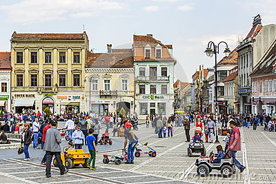 Crowded Council Square, Brasov, Romania Editorial Image